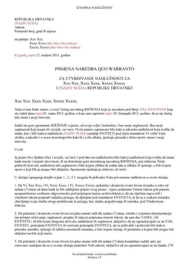 Predložak pisma za osporavanje nadležnosti suda 2_str_1